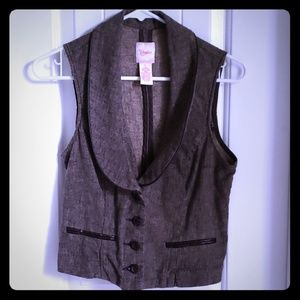 Brown Tweed-like 4 button Vest